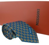 Missoni Square Teal/gold Woven 100% Silk Tie.