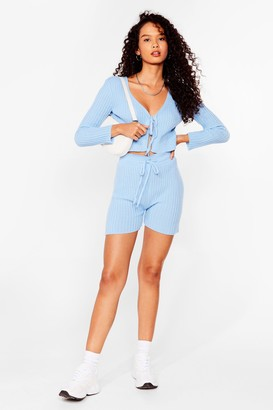 Nasty Gal Womens Let Knit Be Tie Cardigan and Shorts Set - Sky