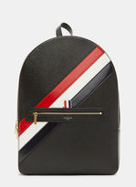 Thom Browne Diagonal Striped Pebble Grained Backpack In Black