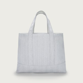 The White Company Canvas Fine-Stripe Shopper Bag, Grey, One Size