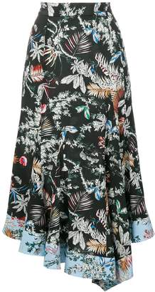 Derek Lam 10 Crosby asymmetric wallpaper floral skirt