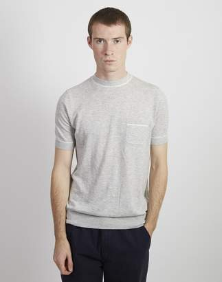 The Idle Man - Knitted Retro Tipped T-shirt Grey