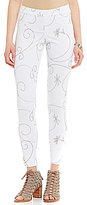 Hue Floral-Embroidered Denim Leggings