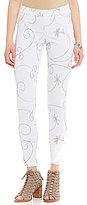 Hue Floral-Embroidered Denim Leggings