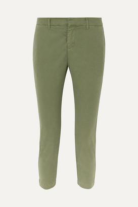 Nili Lotan Tel Aviv Cropped Stretch-cotton Twill Tapered Pants - Green
