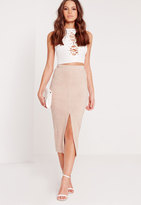 Missguided Faux Suede Longline Split Midi Skirt Nude