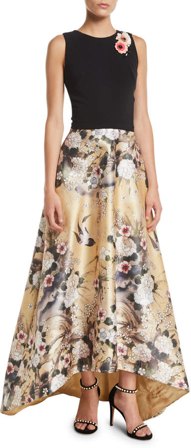 Theia Japanese Parchment Print Sleeveless Gown with Flowers