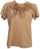 N°21 Beige Cotton T-shirt With Silk Rouches
