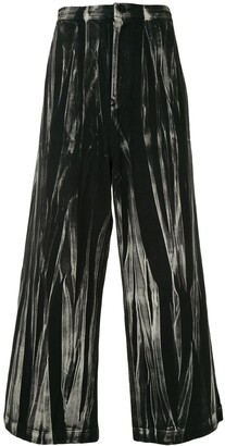 Y's Abstract-Print Wide-Leg Culottes