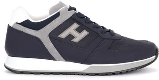 Hogan H321 Sneaker In Blue And Gray Leather