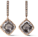 Larkspur & Hawk - Caprice Cushion 14-karat Rose Gold, Diamond And Quartz Earrings - one size
