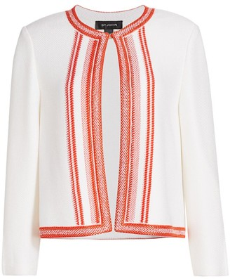 St. John Basket Stripe Knit Wool-Blend Jacket