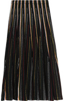 ADAM by Adam Lippes Striped Open-Knit Cotton-Blend Midi Skirt
