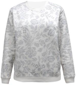Karen Scott Petite Printed Fleece Crew Neck Sweatshirt, Created for Macy's
