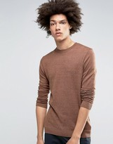 Asos Crew Neck Sweater in Brown Cotton