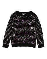 Little Marc Jacobs Long-Sleeve Striped Sweater w/ Large Sequins, Size 6-10