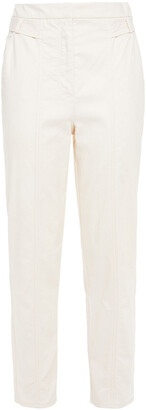 Iris & Ink Claudia Cotton-blend Canvas Tapered Pants