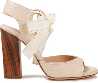 Lanvin Bow-detailed Grosgrain-trimmed Pebbled-leather Sandals