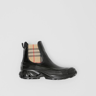 Burberry Vintage Check Detail Coated Canvas Chelsea Boots