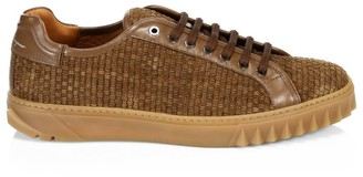 Salvatore Ferragamo Cube 17 Woven Suede Lace-Up Sneakers