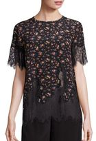 McQ by Alexander McQueen Scalloped Eyelash Lace Silk Floral Top