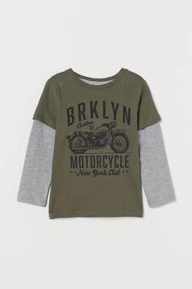 H&M Long-sleeved Jersey Shirt - Green