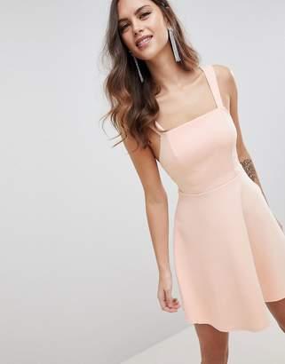 Asos Design DESIGN square neck mini prom dress-Pink