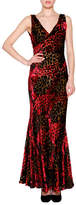 Etro Sleeveless Velvet Devore Gown, Red/Multi