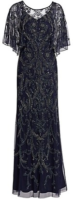 Aidan Mattox Embroidered Flutter-Sleeve Gown