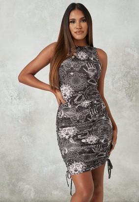 Missguided Petite Black Galaxy Print Ruched Side Mini Dress
