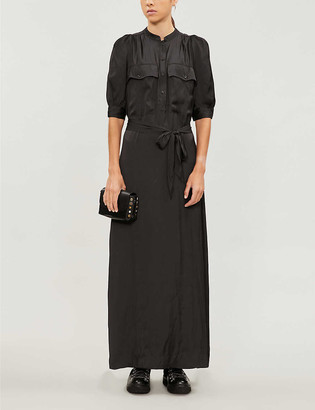Zadig & Voltaire Shirred-back straight satin maxi dress