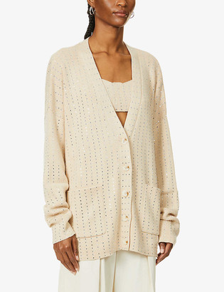 Aya Muse x Dani Michelle embellished cotton-blend knitted cardigan