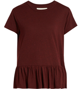 The Great Peplum-hem distressed cotton T-shirt