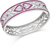 Macy's Ruby (3-1/2 ct. t.w.) and Diamond (1/4 ct. t.w.) Decorative Bangle Bracelet in Sterling Silver