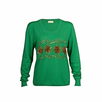 Asneh Sequin and Bead Embellished Krystle Cashmere Sweater In Green