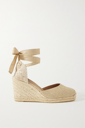Castaner Carina 80 Metallic Canvas Wedge Espadrilles - Beige