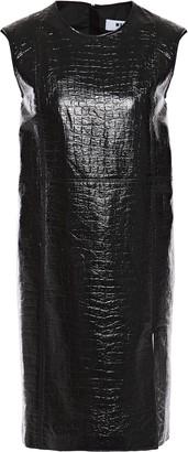 MSGM Coated Croc-effect Cotton-blend Mini Dress