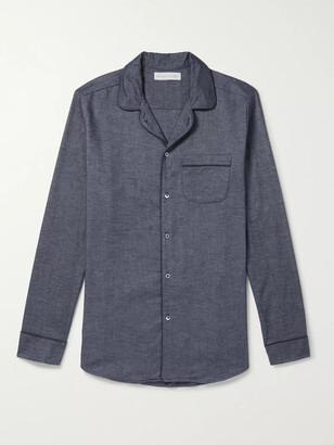 Desmond & Dempsey Brushed Cotton-Twill Pyjama Shirt