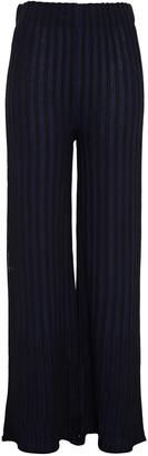 M Missoni Striped Crochet-knit Cotton-blend Wide-leg Pants