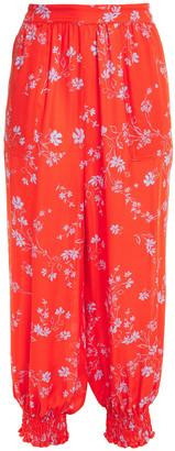 Nicholas Genie Cropped Floral-print Silk Crepe De Chine Harem Pants