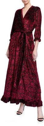 Melissa Masse Printed Crushed Velvet Jersey Maxi Dress with Flounce
