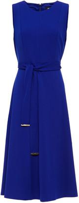 DKNY Belted Stretch-crepe Midi Dress