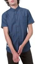 7 Diamonds Men's Livewire Trim Fit Print Short Sleeve Woven Shirt