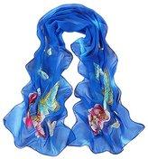 Leewa Women Butterfly Pattern Long Scarves Shawl Scarf (160 x 50cm, Blue)