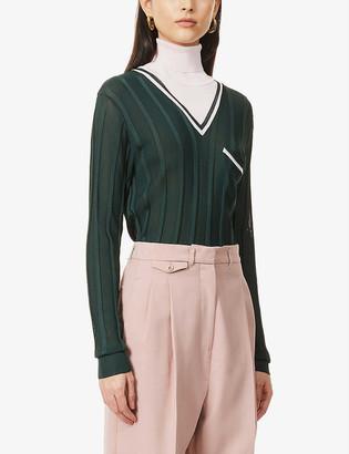 Vesture Contrast-turtleneck knitted jumper