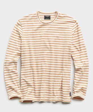 Todd Snyder Long Sleeve Japanese Nautical Stripe Tee in Orange