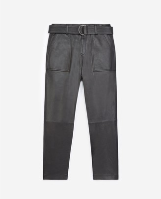 The Kooples Cropped black leather trousers with belt