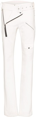 Zilver Belted Zip-Detailed Straight-Fit Trousers