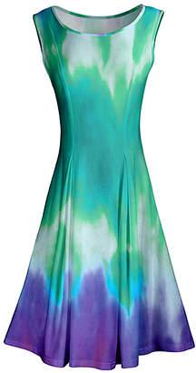 Lily Women's Casual Dresses PRP - Purple & Green Tie-Dye Pleated Sleeveless A-Line Dress - Women & Plus