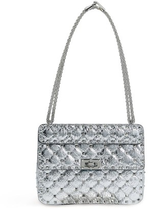 Valentino Medium Metallic Leather Rockstud Spike Shoulder Bag